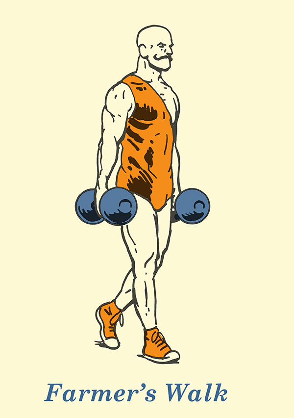 farmer's walk illustration vintage strongman