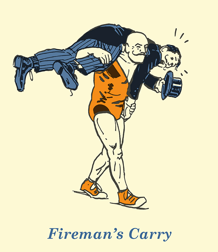 fireman's carry illustration vintage strongman