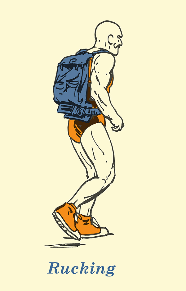 rucking illustration vintage strongman