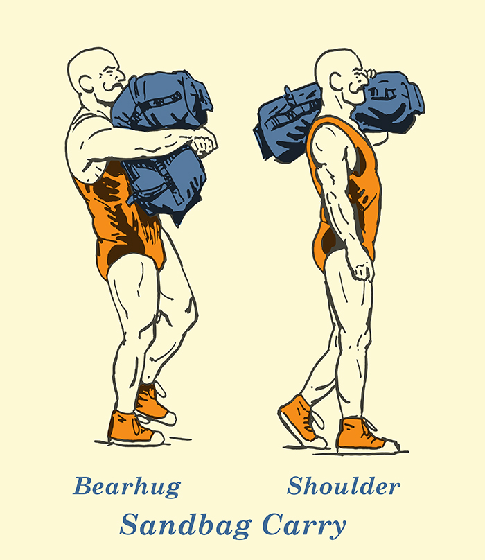 sandbag carry illustration vintage strongman