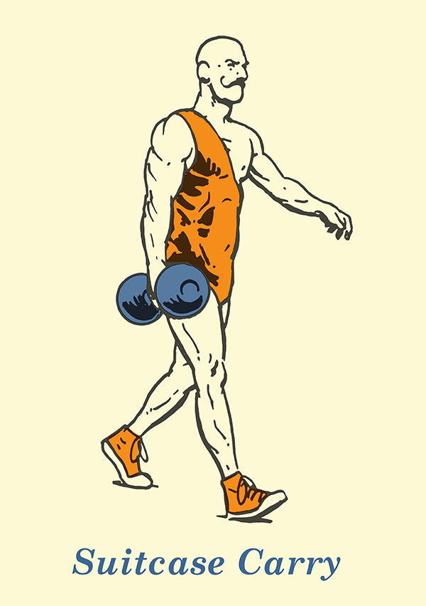 suitcase carry illustration vintage strongman