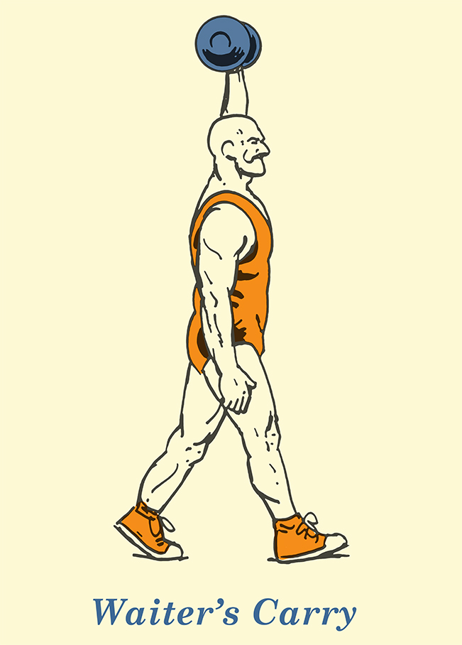 waiter's carry illustration vintage strongman