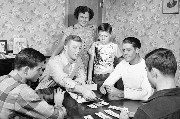 vintage family playing cards