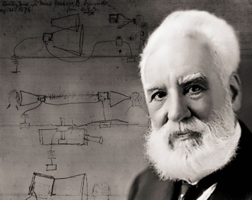 alexander graham bell with background of his drawings