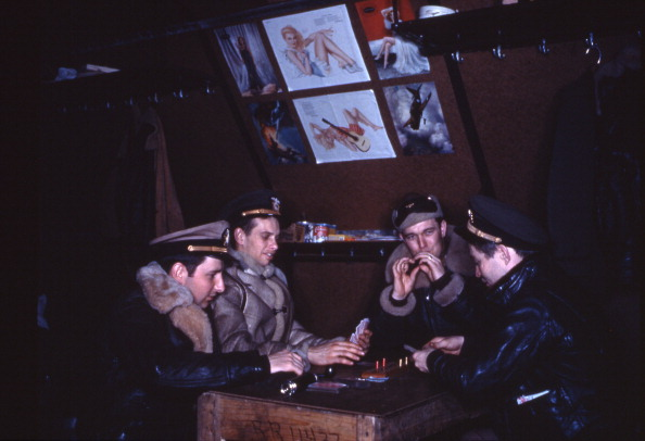 vintage military men playing cribbage