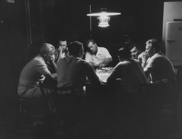 vintage men playing poker