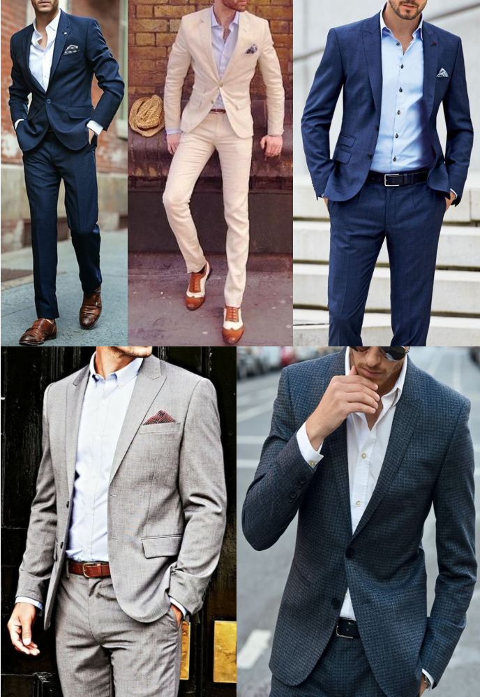 Men wearing suits without ties