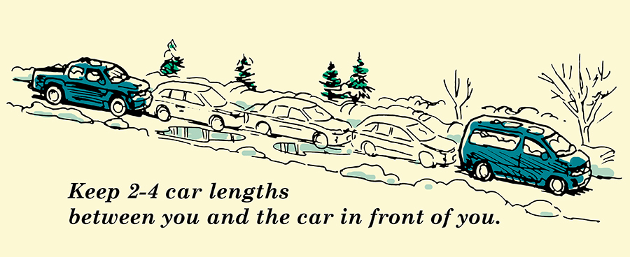 Winter driving distance between cars illustration.