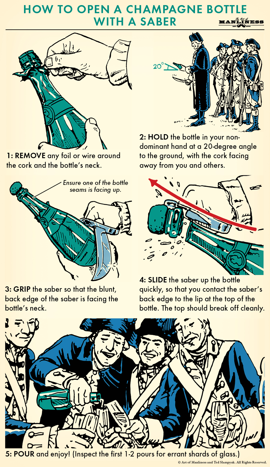 Procedure to open a champagne bottle with a saber illustration.