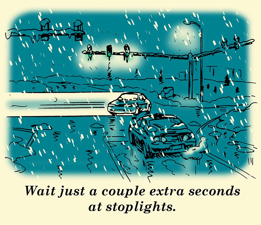 Waiting at stoplight winter driving illustration.