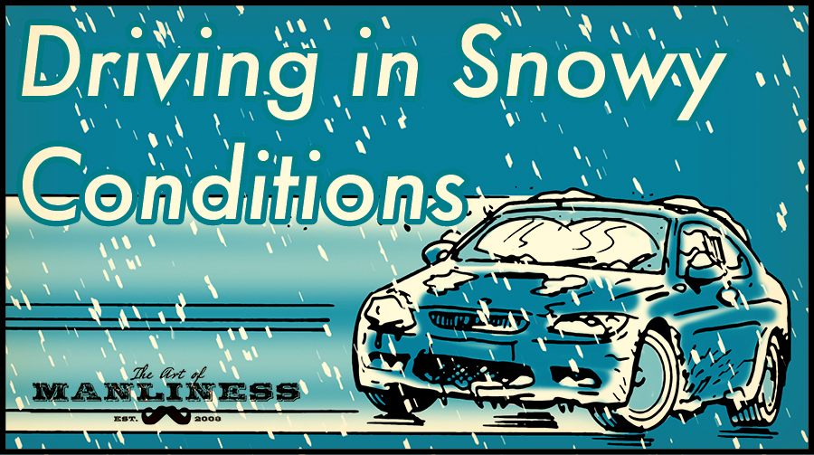 Driving in snowy conditions illustration.