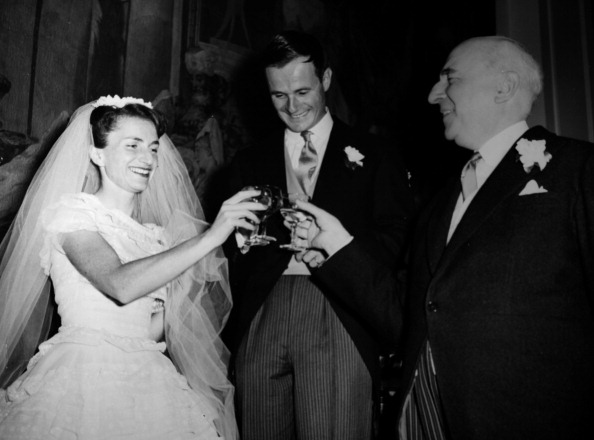 vintage bride and groom toasting