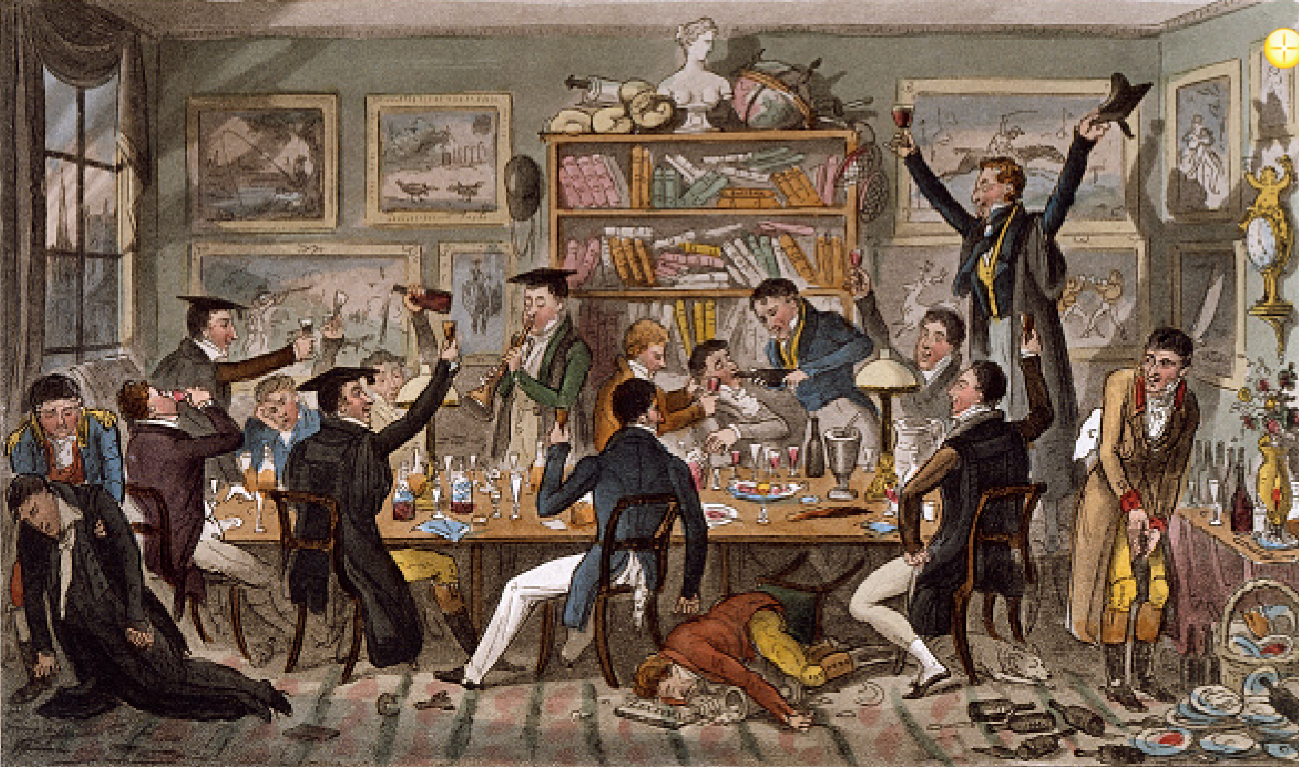 vintage painting men toasting and drinking