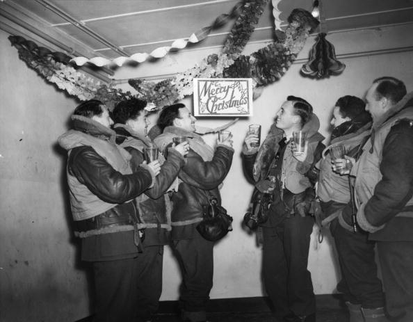 vintage young people toasting at christmas