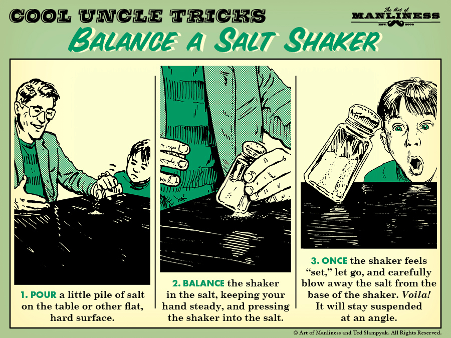Comic guide about balancing a salt shaker by Art of Manliness.