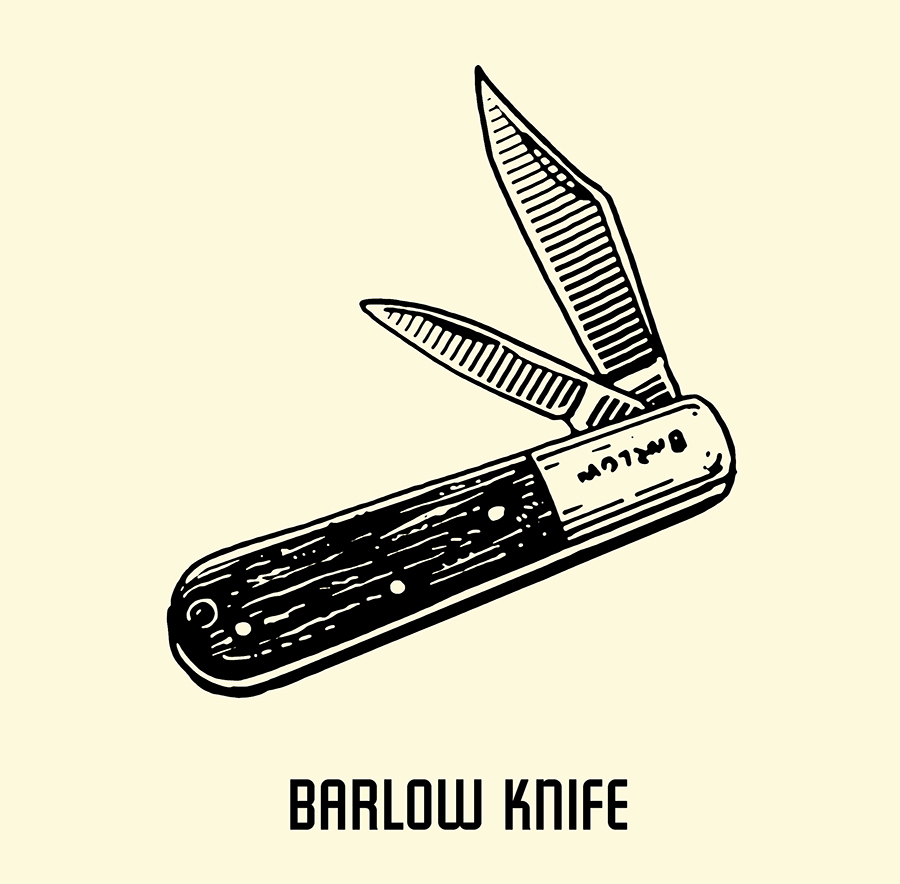 barlow pocket knife illustration