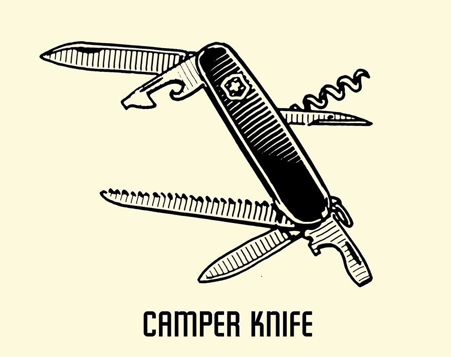 camper pocket knife illustration
