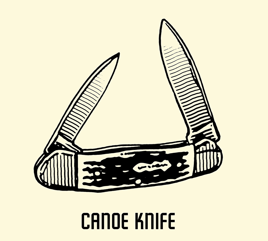 canoe pocket knife illustration