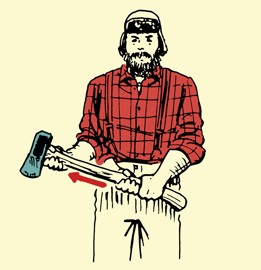 Man holding maul for splitting wood illustration.