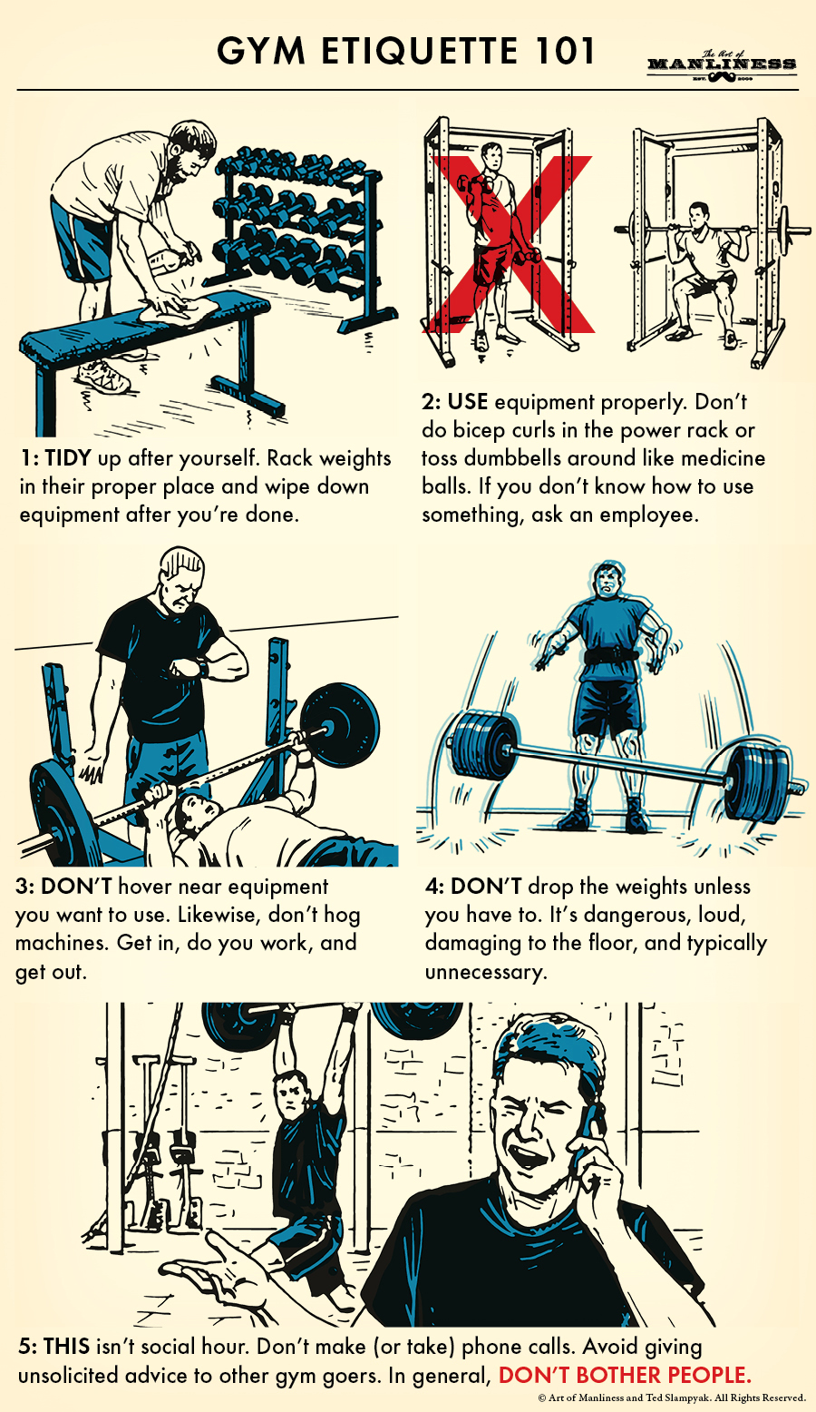 gym etiquette 101 diagram illustration