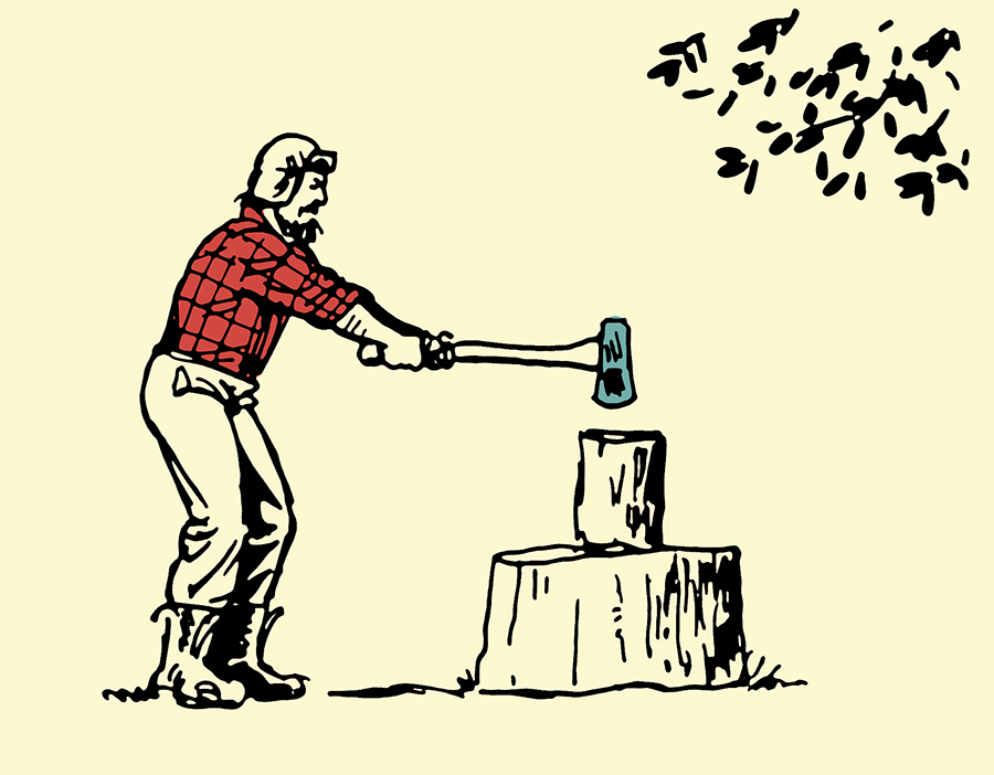 Man splitting wood illustration.