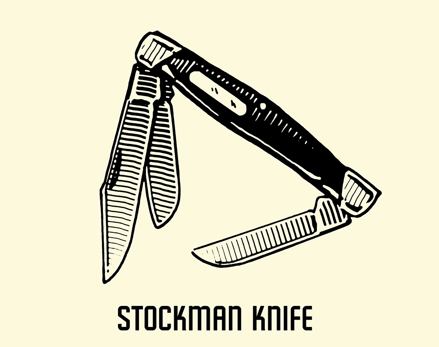 stockman pocket knife illustration