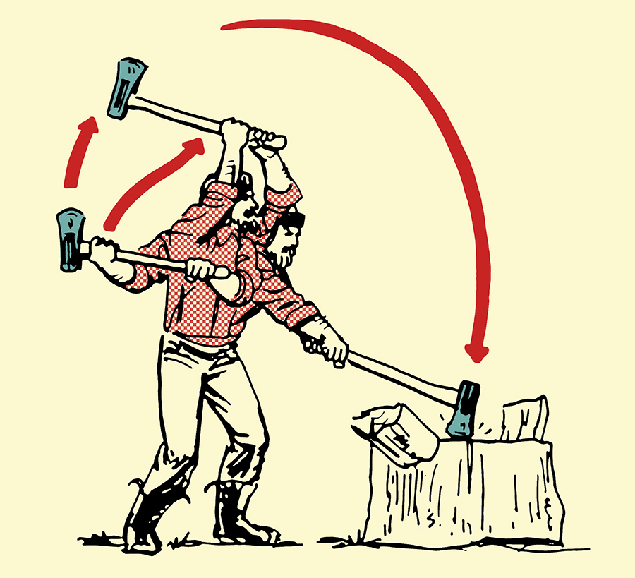 Swinging maul splitting wood illustration.