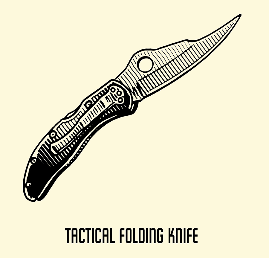 tactical folding knife illustration