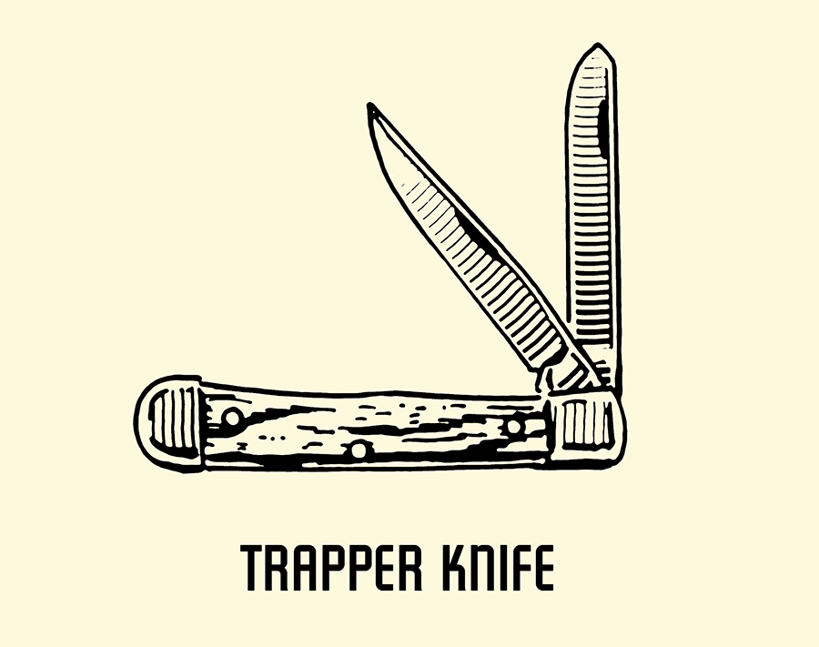 trapper pocket knife illustration