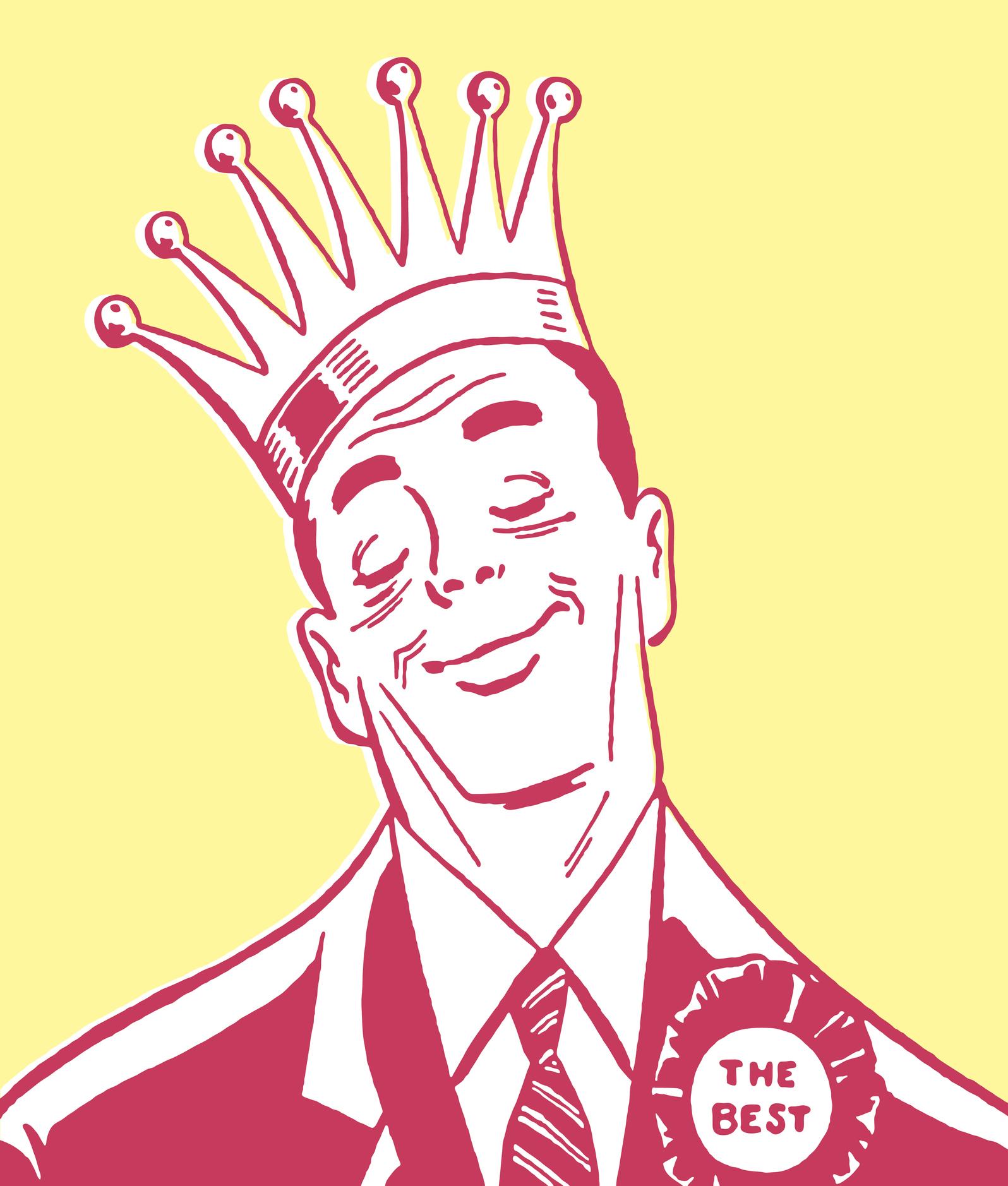 Vintage man with crown on head illustration.