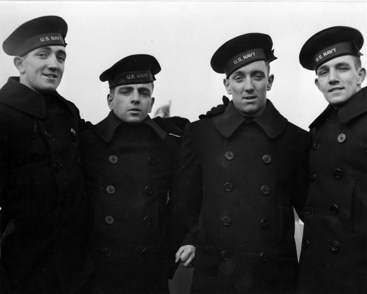 vintage us navy seamen wearing pea coats