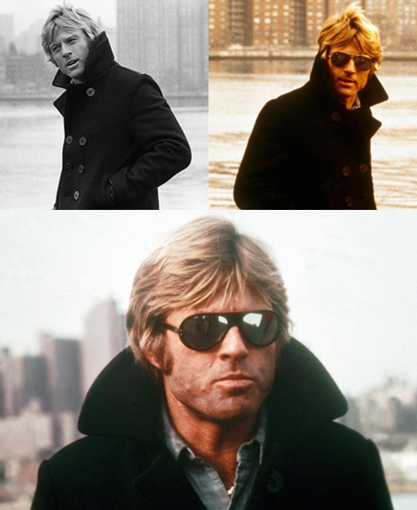 robert redford wearing pea coat collar popped