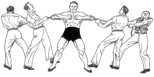 Man resisting the pull of four men.