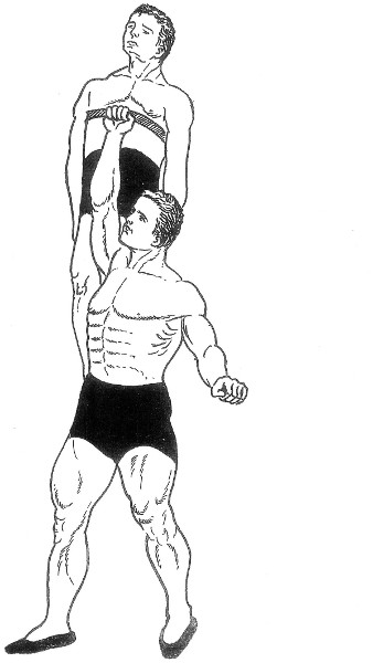 Lifting a man overhead with one hand.