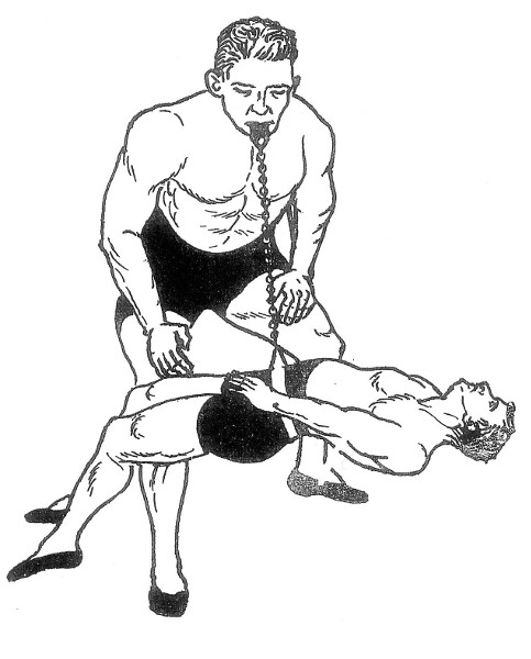 Man Lifting and Swinging a man with his teeth.