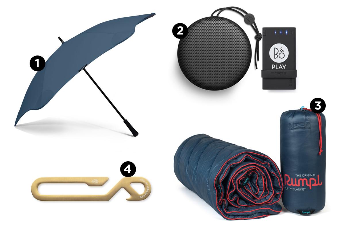 Umbrella, Blanket, pocket hook and speaker displayed.