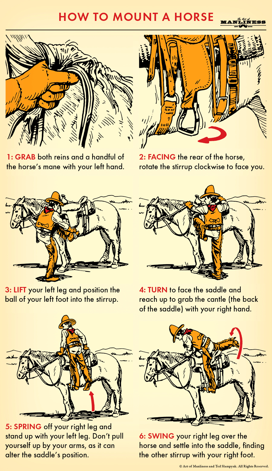 how to mount a horse illustration