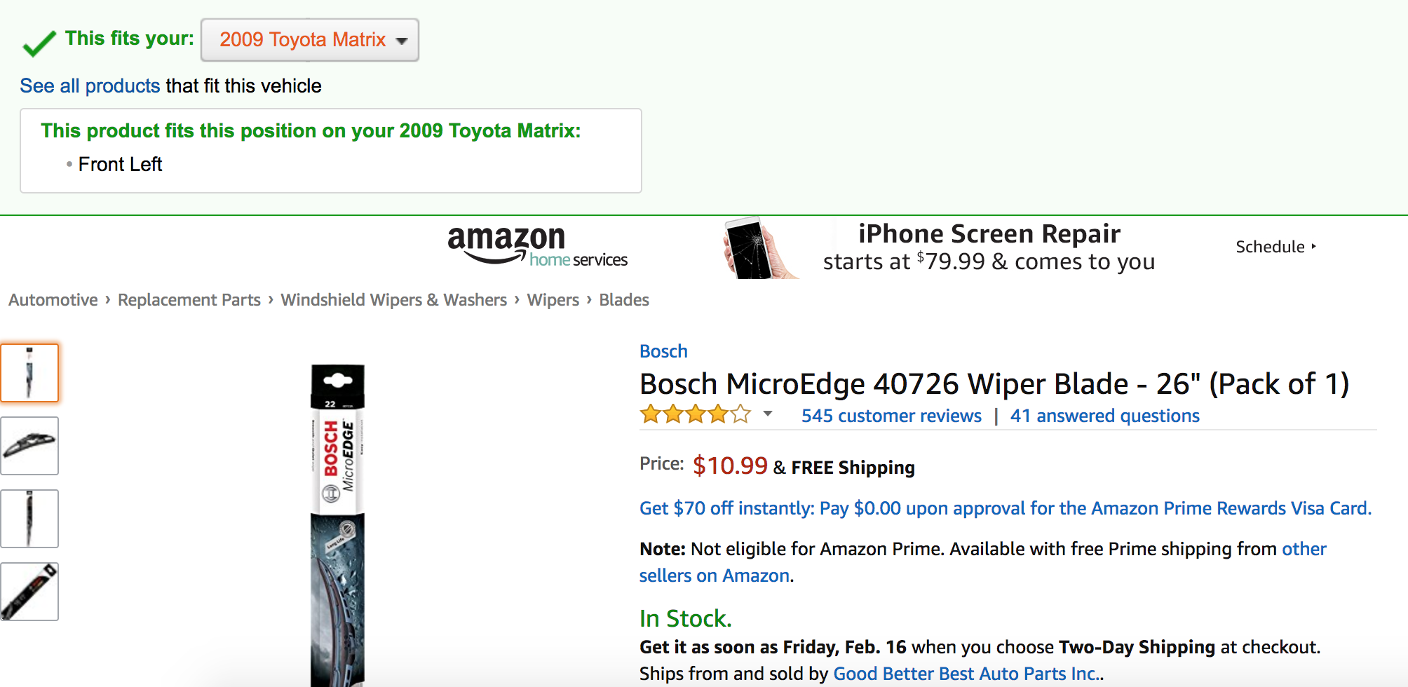 Buying bosch wiper blades from amazon.
