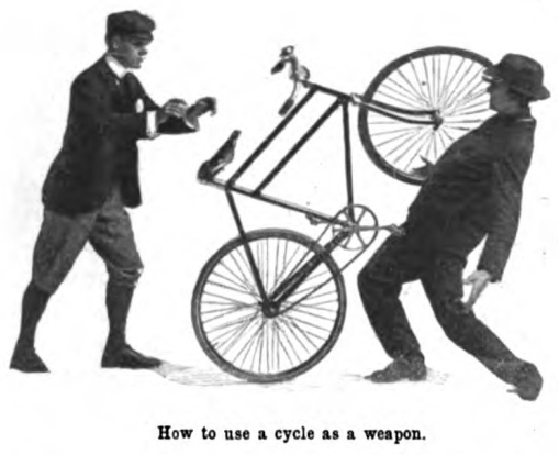 Vintage man throwing bicycle for hitting another man.