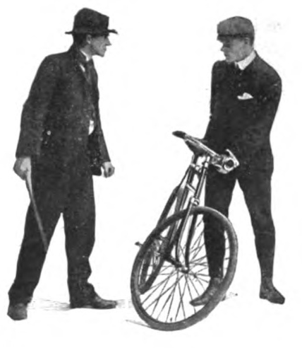 Vintage man holding stick and Staring at man holding a bicycle.