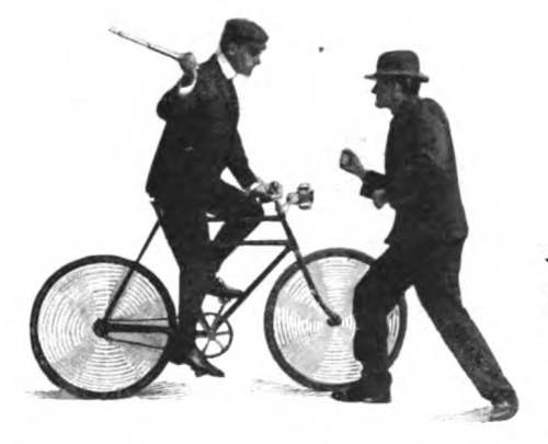 Illustration of vintage man riding a bicycle with stick.