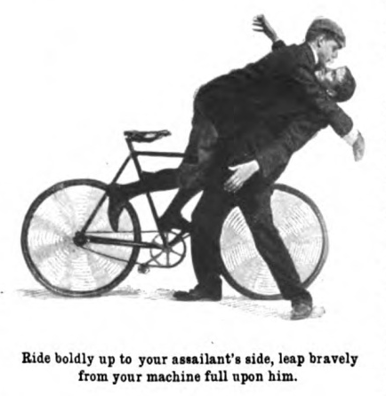 Vintage man leaping upon other man from bicycle.