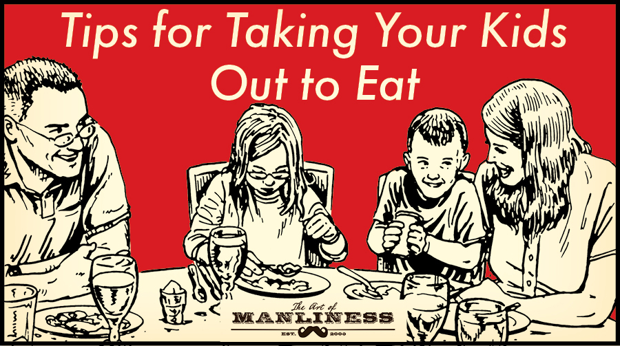 taking kids out to eat illustration