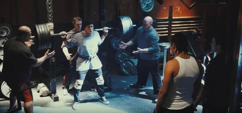Rocky doing back squat.