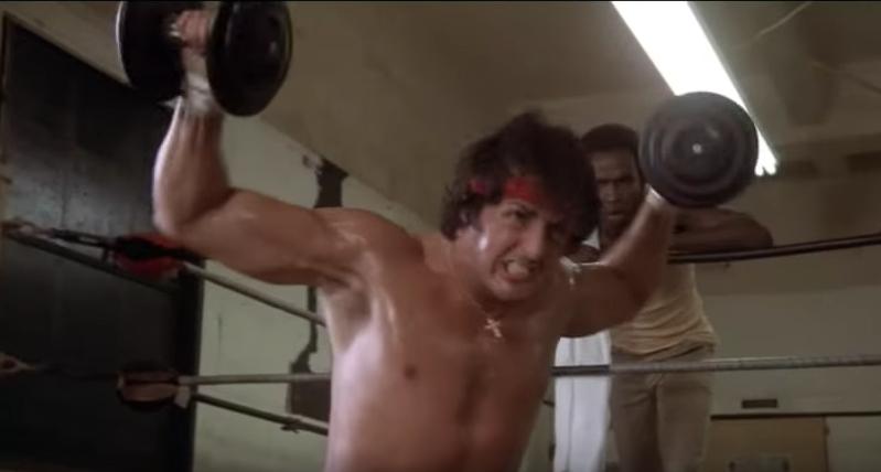 Rocky doing lateral dumbbells' raises.