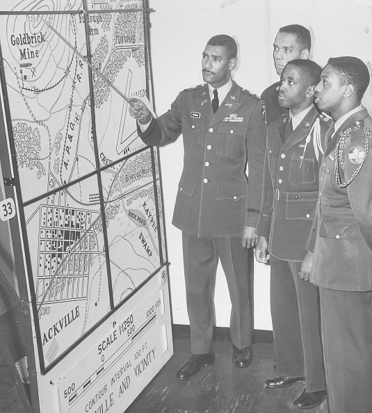Officer proposing his military plan to his fellow colleagues.