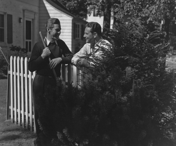vintage neighbors talking in yard