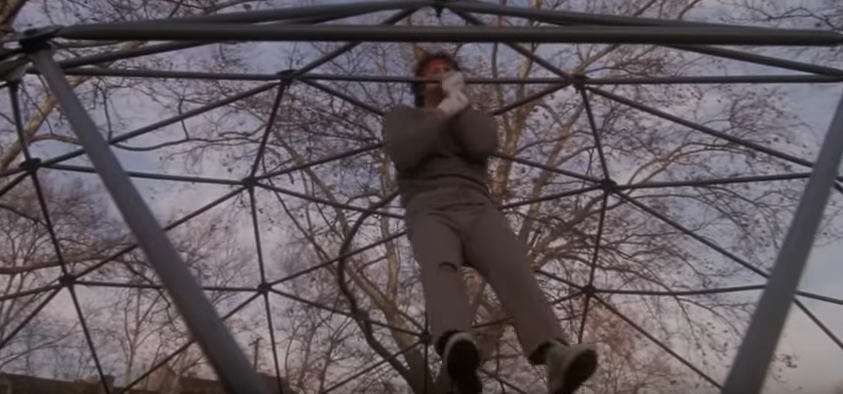 Rocky doing one-arm pull-ups in a jungle gym.