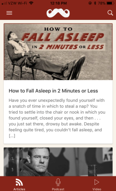 Poster about sleeping in 2 minutes or less by Art of Manliness.