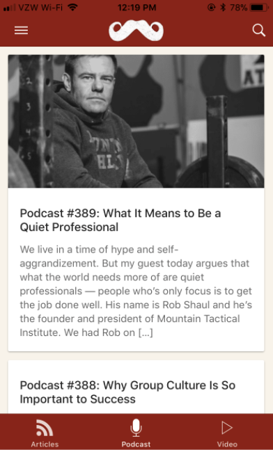 Podcast about what it means to be a quiet professional by Art of Manliness.